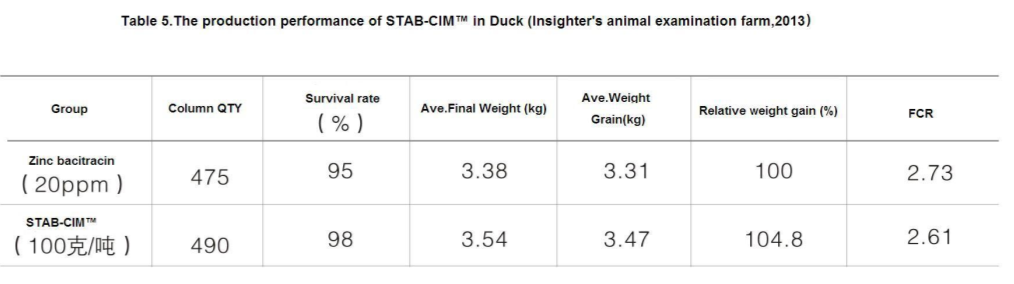 STAB-CIM Insighter feed additives-Table 5