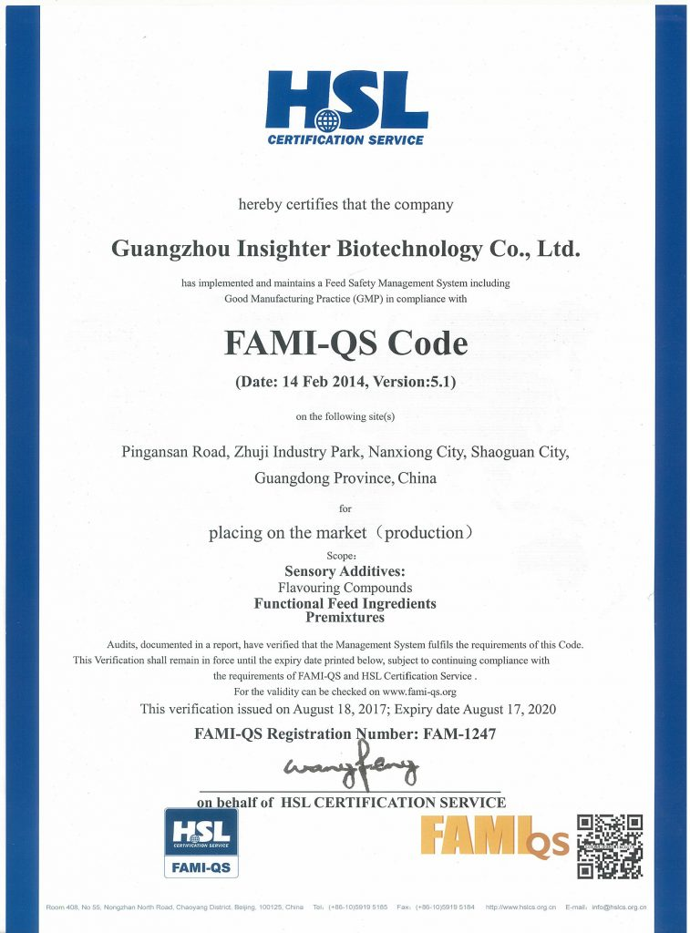 Guangzhou Insighter Feed Additives Insighter Secures Fami-QS ...